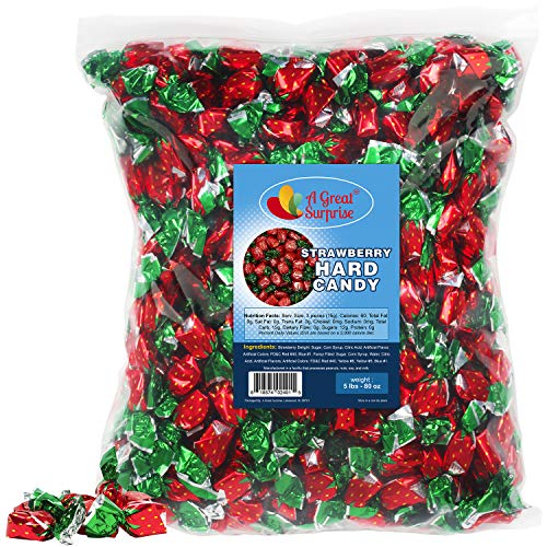 Strawberry Hard Candy - Strawberry Filled Bon Bons - Bulk Candy - 5 LB
