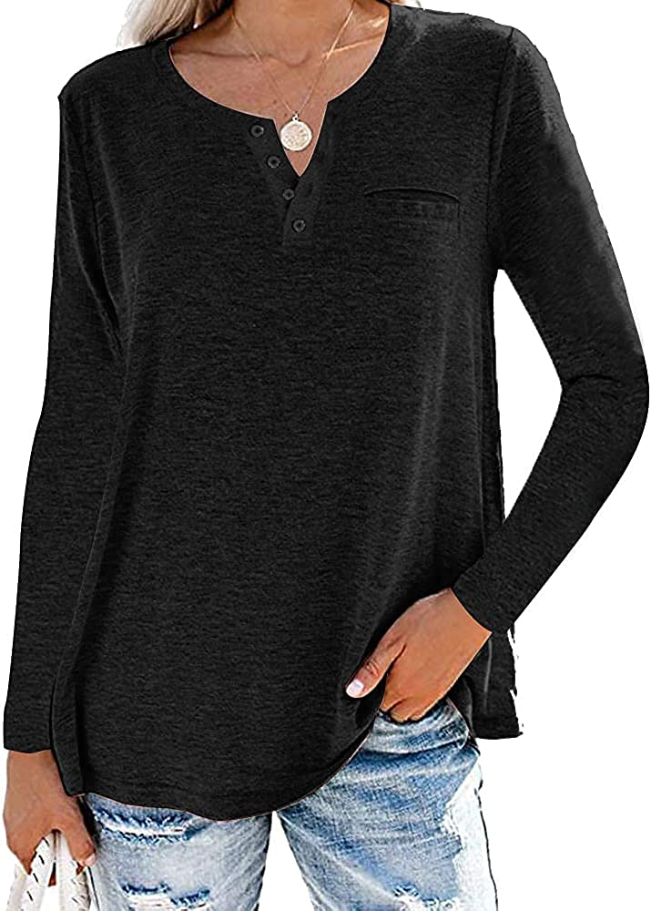MYHALF Womens Long Sleeve Shirts V Neck Solid Tops Button Down Tunic Casual Fall Blouse