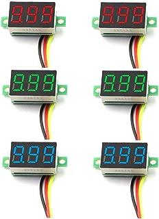 DaFuRui 6pcs Mini Digital Voltmeter DC 0-100V 0.36 Inch Three-Line Mini Digital Voltmeter Voltage Tester Meter 3 Colors