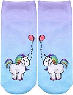 Las Señoras De Los La De Muchachas De Hombres Las Ropa festiva Historieta Unicornio Calcetines Deporte Clásico Cómodos Cómodos Calcetines Invisibles Ocio Moda Calcetines Invisibles