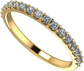 NaNa Simulated Diamond Wedding Ring Swarovski Zirconia Sterling Silver- Stackable Ring-Wedding Band-Yellow Gold Plated-Size 5.5