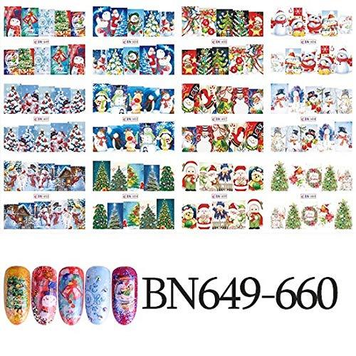 MEIYY Autocollant D'ongle 1 Set 11 Conceptions Neige Fleur Blanc Autocollant Pour Nail Art Décor De Noël Conseils Bout Toes Eau Transfert Stickers Ongles Autocollant