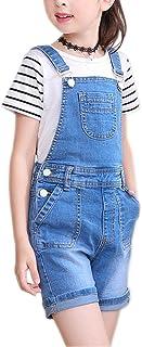 5dd4d9585f Sitmptol Girls Little Big Kids Distressed BF Jeans Cotton Suspender Denim  Bib Overalls 1P