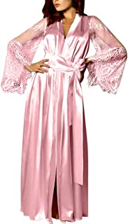 KESEELY Women Satin Lace Pajamas Robe Underwear Robes Lace Sleeves Long Robes