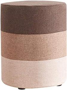 Dall Fußhocker Polsterhocker Osmanen Sofa Hocker Wohnzimmer Massivholzrahmen Abnehmbare Wäsche (Farbe : Brown, größe : Runden)