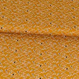Baumwollstoff Vögel senfgelb - Preis gilt für 0,5 Meter