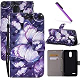 LG Stylus 3 LS777 Case, LG Stylo 3 LEECOCO 3D Printing Wallet Case with Card Cash Holder Slots Wrist Strap [Kickstand] PU Leather Folio Flip Case Cover for LG Stylo 3 Plus 3D Purple Butterfly KT