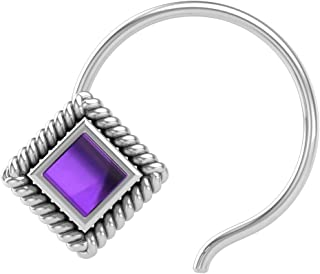 PeenZone 925 Sterling Silver Square Shape Amethyst Stone Cup Setting Nose Pin Stud for Women Girls