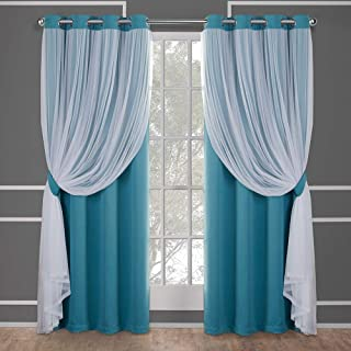 Exclusive Home Curtains Catarina Layered Solid Blackout and Sheer Window Curtain Panel Pair with Grommet Top, 52x84, Turquoise, 2 Piece