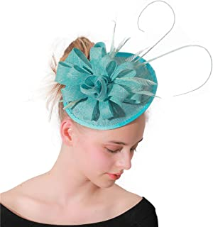 Sinamay Feather Flower Fascinator Wedding Hats, Bridal Hair Clip Headband Accessories, Cocktail Tea Party Banquet Headwear for Womens Ladies,ShallowLakeBlue