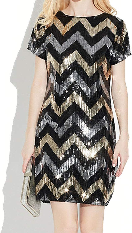 Womens Short Sleeve Dress Women's Sequins Short Sleeved Mid Length Dresses Sequined Beaded Fringed Skirt Dress (color   Black)