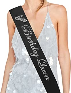 """Birthday Queen"" Rhinestone Sash - 15th 16th 17th 18th 21st 22nd 25th 30th 40th 50th Birthday Sash Birthday Gifts Party Favors, Supplies and Decorations (Black)"