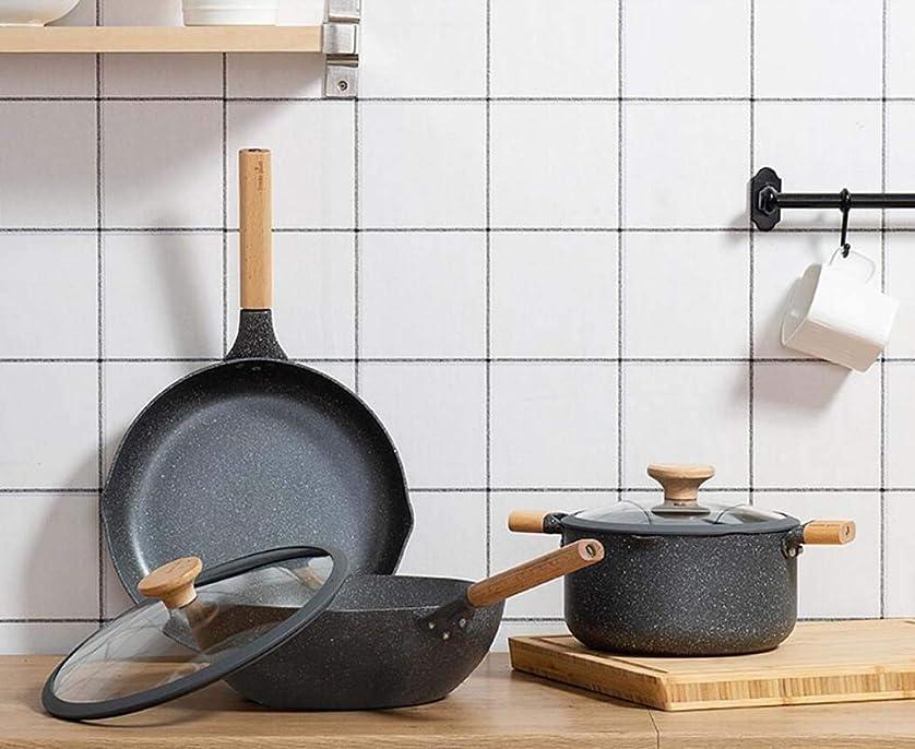 タップ思想クーポンQIN.J.FANG-キッチン用品3ピースフラットボトムノンスティックパン、鍋/フライパン/ミルクパン、誘導炊飯器ガスストーブユニバーサルパン