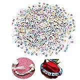 Ealicere Bunte Perlen Zum Auffädeln, ca.1000stk Letter Beads, Buchstabenperlen gemischte weiß perlen mit bunt Buchstaben A-Z würfelperlen für Schmuck Basteln DIY Basteln (bunt...