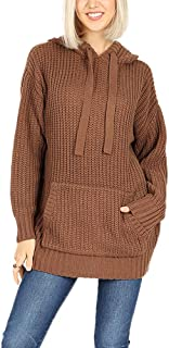 RIAH FASHION Hooded Ribbed Sweater Pullover Long Tunic - Loose Fit Pocket Knit Sweatshirt Cozy Hoodie