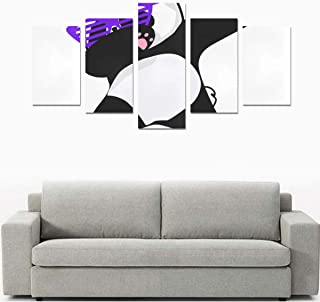 Liaosax Canvas Print Painting Arts Canvas Print Dabbing Chinese Panda Dance No Frame 5 Pieces Paintings Posters Prints On Canvas Hang for Bedroom Home Office Wall Decor