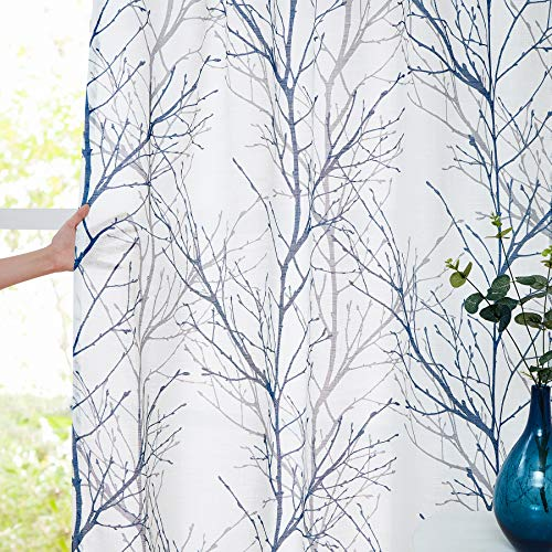 "Blue White Curtains 72"" Living Room Grey Tree Branches Print Curtain Panels for Small Window Drapes Linen Textured Semi-Sheer Curtain Set for Bedroom Country Rustic Style Rod Pocket, 2 Panels"