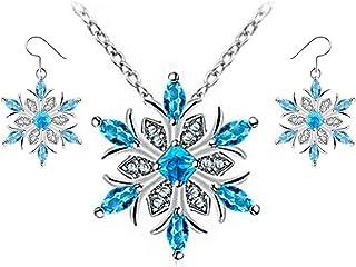 أقراط متدلى متدلية على شكل ندفة الثلج الزرقاء من Belcher's مجموعة مجوهرات خطاف للنساء والفتيات مجوهرات الشتاء