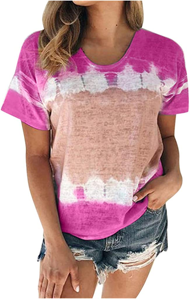 AODONG Summer Tops for Womens Tops Tie Dye O Neck Women Summer Tops Casual Printed Loose Fit Workout Shirts
