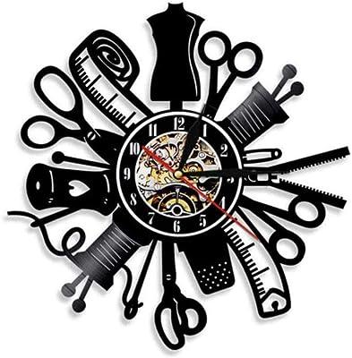 LTOOD Me Encanta acolchar Coser Cita Arte de Pared Vintage máquina de Coser Reloj de Pared Disco de Vinilo Reloj de ...