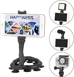 Flexible Cell Phone Holder Lazy Bracket Stand Suction Cup Long Arm Gooseneck for Action Camera Bike Motorcycle Handlebars Car Desk Bed Mirror Kitchen Universal MobilePhone Mount by BESNFOTO (Black)