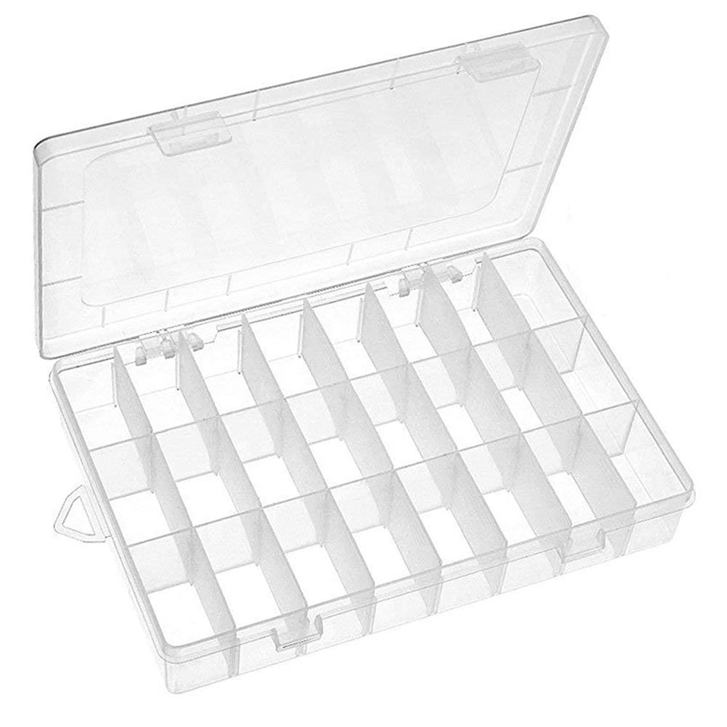 Mavel Plastic Jewelry Organizer Box 24 Grids Clear Storage Container Compartment Box with Adjustable Dividers