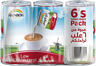 Rainbow Low Cholestrol Evaporated Liquid Milk - 170 gm,Pack of 6
