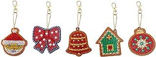 Libobo5PC DIY Special Shape Full Pattern Key Ring Set Embroidery Christmas Keychain Decoration (B)