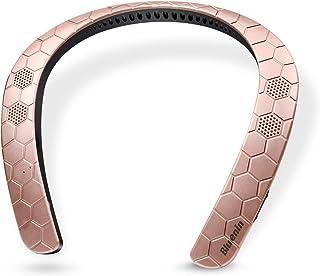 ウェアラブル ネックスピーカー ワイヤレス 首掛け Bluetooth スピーカー ポータブル IPX4防水 マイク内蔵 ハンズフリー通話 テレビ/映画/ゲーム用 軽量設計(ローズゴールド)