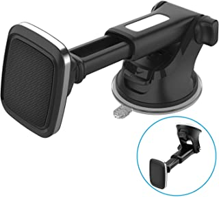 Magnetic Phone Holder for Car with Quick Telescopic Extenstion Arm, Industrial-Strength Suction Cup and 6 Strong Magnets, 1Zero Dashboard Windshield Mobile Mount for All iPhone Cell Phones Mini Tablet