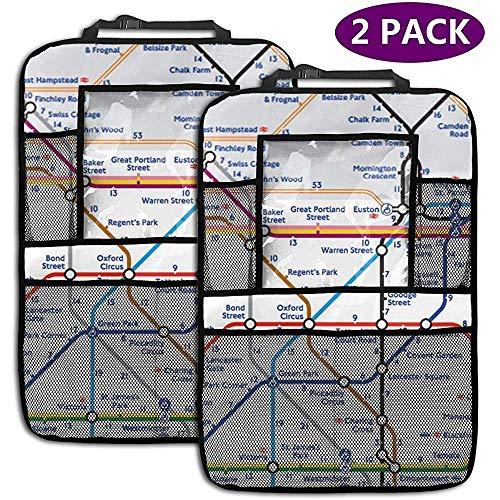 Auto Backseat Organizer Walking Tube Londen Kaart Backseat Auto Organizer met 4 Opbergzakken Stoel Back Protectors Kick Mats voor Speelgoed Fles Boek Drink 2 Pack