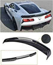 Extreme Online Store Replacement for 2014-2019 Chevrolet Corvette C7 | Z06 Z07 Stage 3 Style Rear Trunk Lid Wing with Light Tinted WickerBill Spoiler (ABS Plastic - Painted Carbon Flash Metallic)