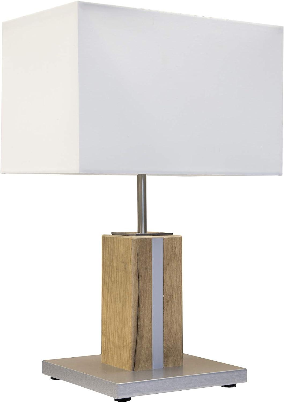 LED Textil Nacht Schreib Tisch Leuchte Wohn Zimmer Holz Lese ...