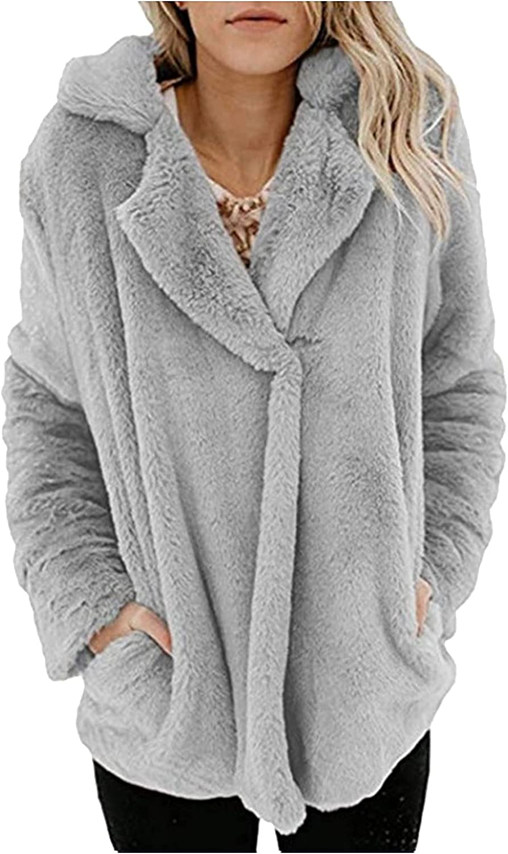 haoricu Women Fall Winter Fuzzy Fleece Cardigan Fashion Lapel Buttion Oversized Open Front Fluffy Coat with Pocket