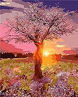 Diyの油絵子供のためのデジタル油絵大人初心者16x20インチ、夕日の下の桜の木--クリスマスの装飾ホームインテリアギフト (フレームなし)