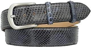 ESPERANTO Cintura 4 cm in pelle di Pitone Blu Lucido con fodera Nabuk e fibbia Nichel free