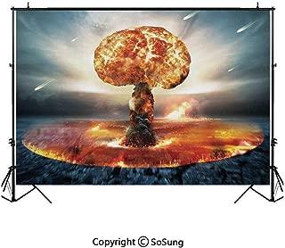 7x7Ft Vinyl War Home Decor Backdrop for Photography,Atomic Explosion Mushroom Cloud Fireball Inferno Nuclear Reaction Print Background Newborn Baby Photoshoot Portrait Studio Props Birthday Party Bann