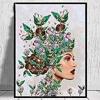 DIY 5Dダイヤモンド塗装キット、ラウンドフルダイヤモンドアートキット、ダイヤモンド付き塗装キット、家の壁の装飾用(着物の女性、15.7x19.8インチ)