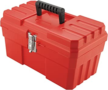 Akro-Mils 09514 ProBox 14-Inch Plastic Toolbox for Tools, Hobby or Craft Storage Toolbox with Removable Tray, 14-Inch x 8-Inch x 8-Inch, Red: image