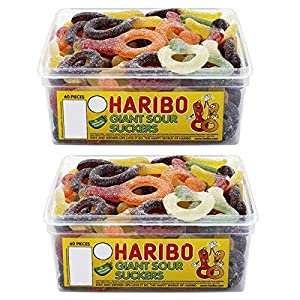 2 x full tubs haribo sweets party favours treats candy box wholesale (giant sour suckers) 2 x Full Tubs Haribo Sweets Party Favours Treats Candy Box Wholesale (Giant Sour Suckers) 61sU0aJuyVL