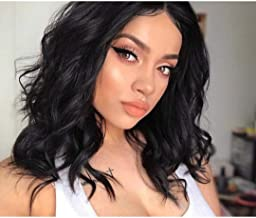 AISI QUEENS Bob Wavy Lace Front Wigs for Women Synthetic Short Black Curly Wig Middle Parting Shoulder Length Wigs for Daily Party Use(14 Inches)
