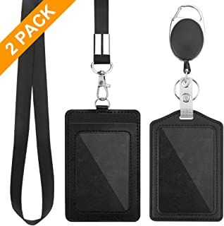 2 Pack Badge Holders, Vertical PU Leather ID Badge Card Holder with 1 Clear ID Window, with Detachable Neck Lanyard Strap and Retractable Badge Reel ID Card Holders Set