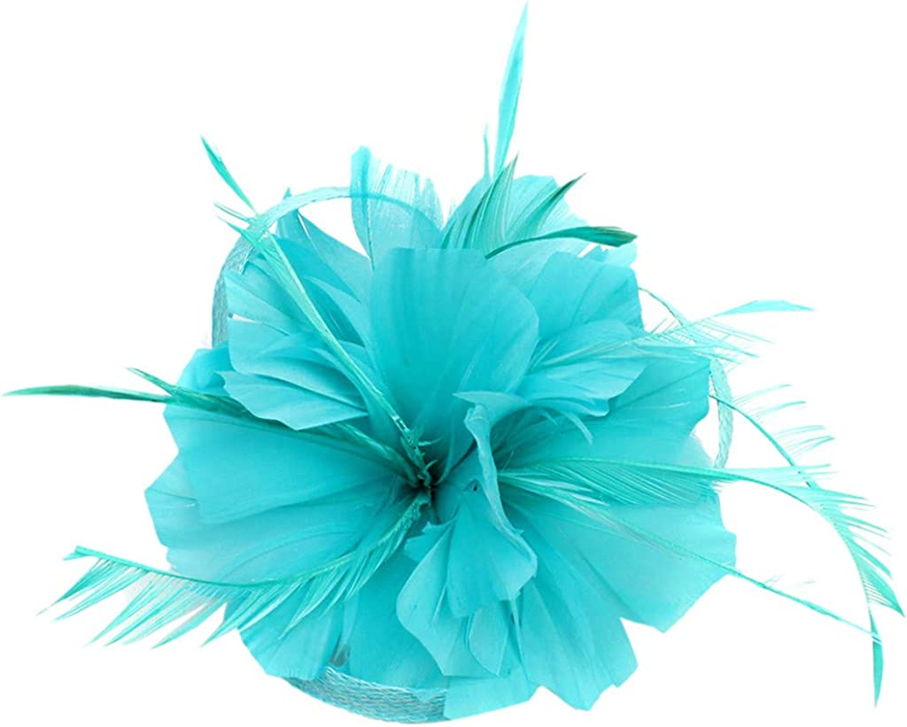 Kulywon Feather Fascinators Womens Flower Derby Hat for Cocktail Ball Wedding Headband 2021