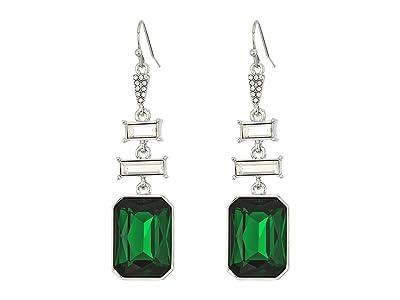 Vince Camuto Baguette Drop Earrings (Rhodium/Crystal/Dark Moss Green) Earring