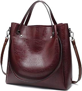 New Trendy Womens Tote Bags Ladies Handbags Shoulder Bag for Women Oil Wax Leather (Wine)