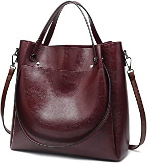 New Trendy Womens Tote Bags Ladies Handbags Shoulder Bag for Women Oil Wax Leather (Wine)