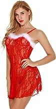 SUGEER Women Sexy Valentine's Lingerie Red Christmas Babydolls Sexy Lace Sleepwear Nightdress Flirty Nightgown