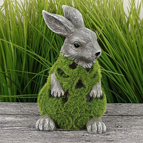 Valery Madelyn Coniglietto di Pasqua in Poliresina con Muschio Artificiale 22cm Decorazione di Pasqua Figurina e Statuetta di Conigli Pasquali Decoraz