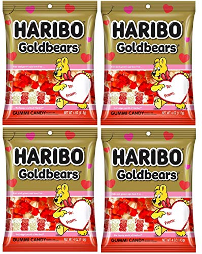 Haribo Gold Bears Valentine Gummy Bears Seasonal Edition 4oz  Pack of 4