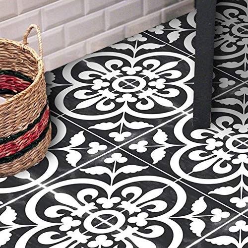 Sticker Tile Stickers Floor Floor Decals Carreaux Ciment Encaustic Corona Floor Panel In Black Peel & Stick Vinyl Adhesive Tiles(Set 12 Units)